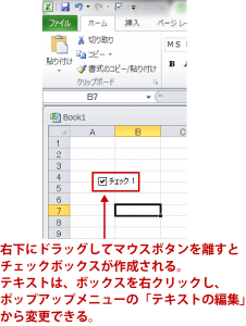 エクセルチェックボックス解説画像